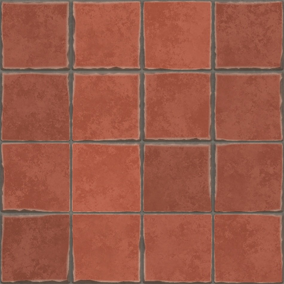 square terracotta tiles, pattern