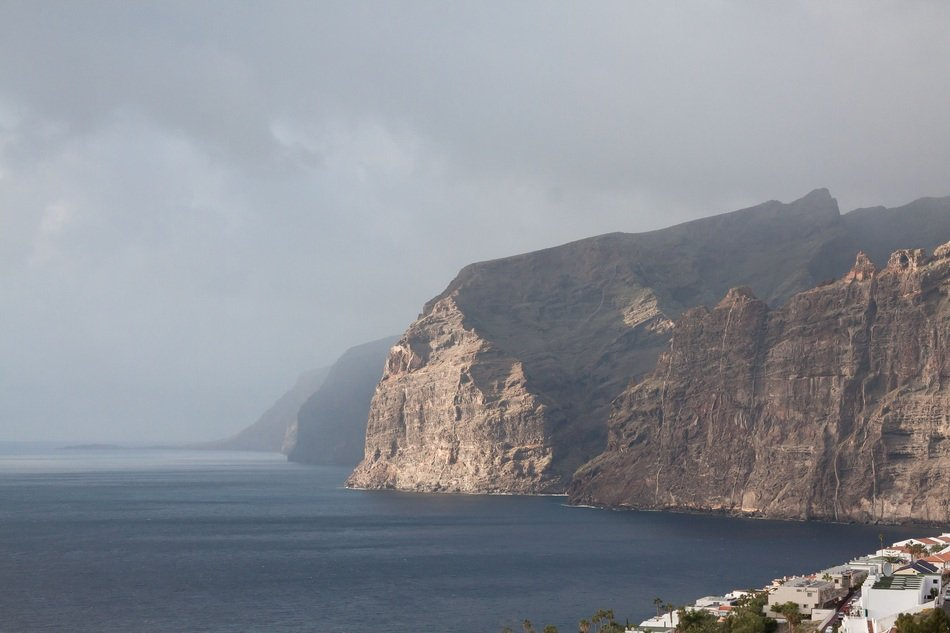 corgeous cliffs at sea under clouds, spain, tenerife, acantilados de los gigantes