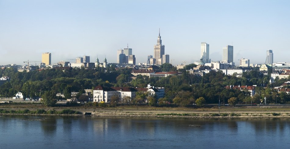 view of city from wisla river, poland, warsaw