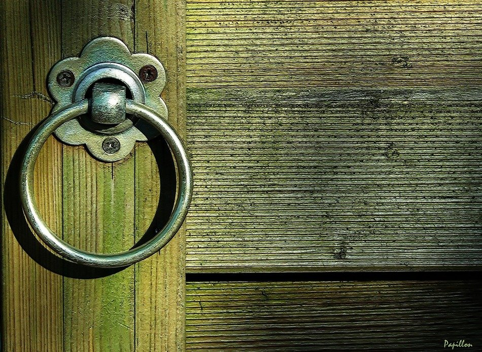 vintage metal door handle close up