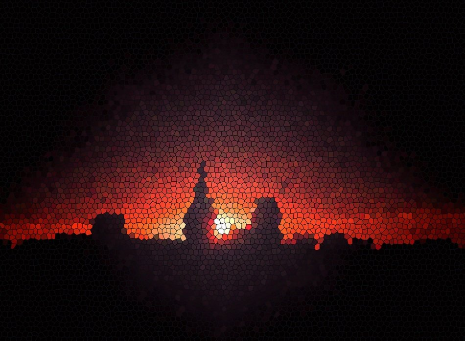 abstract city silhuette at sunset, glass mosaic