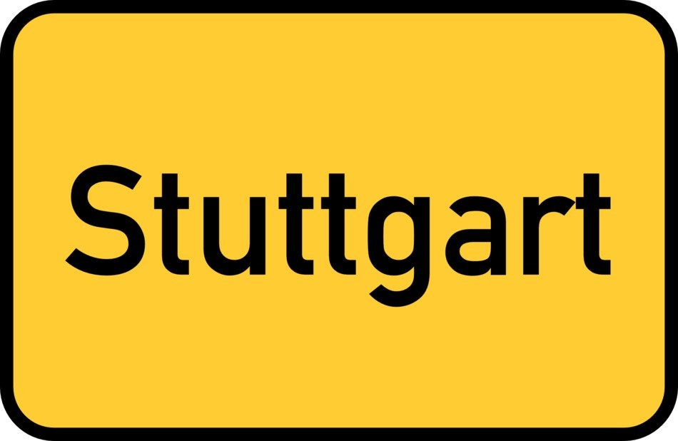 stuttgart yellow town sign