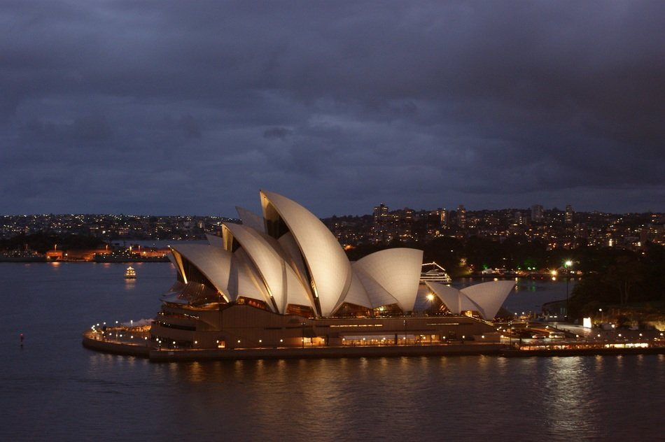 beautiful night view of sydney opera house at harbor, australia