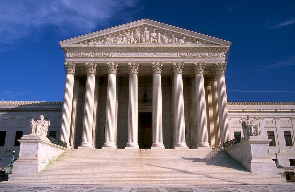 porch of supreme court building, usa, washington dc