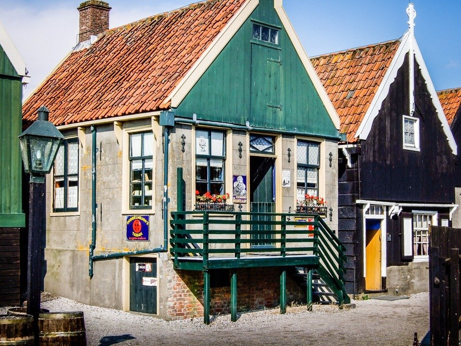 traditional shop building in outdoor dutch museum, netherlands, zuiderzee