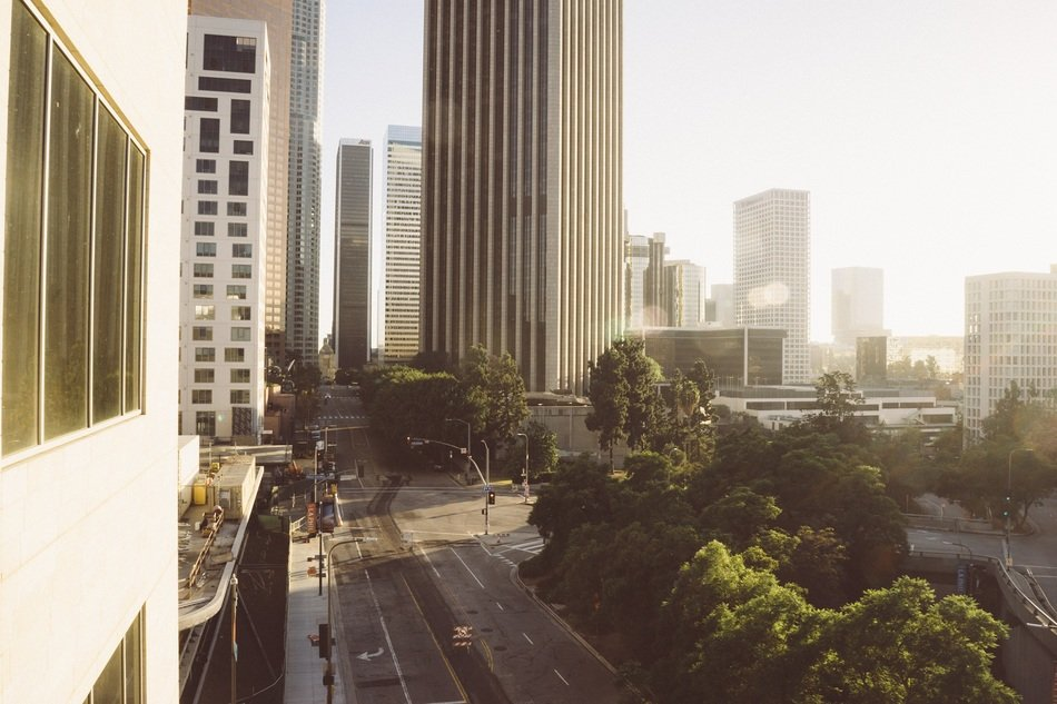 city in morning mist, usa, california, los angeles