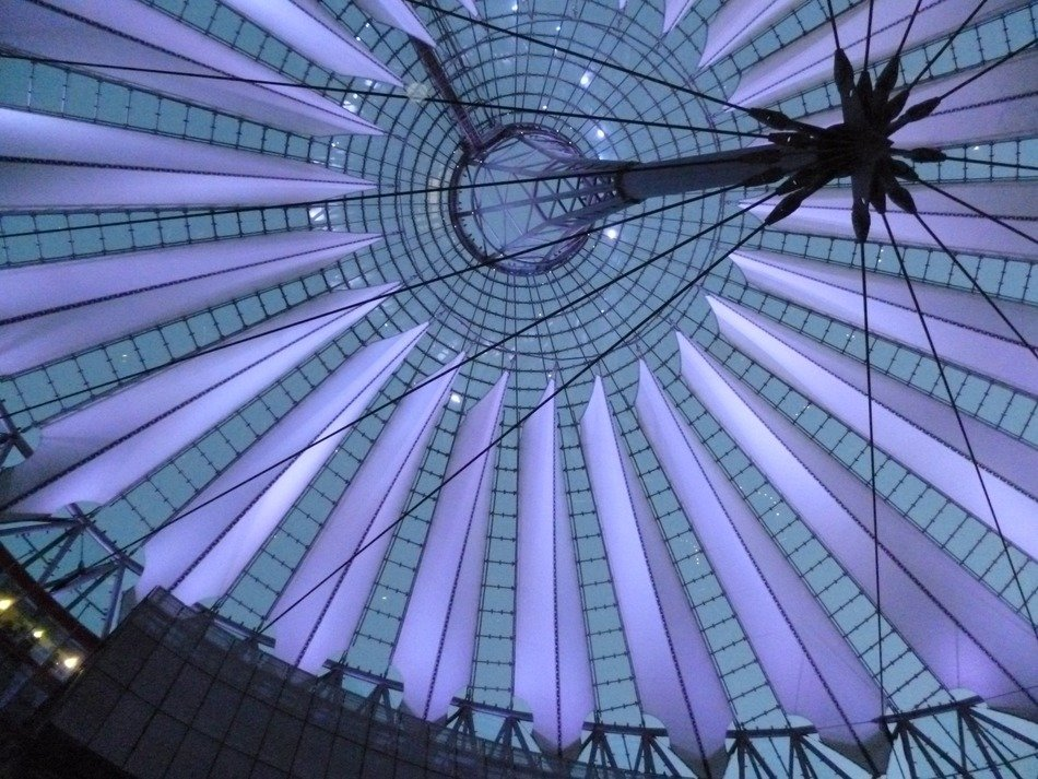 bottom view of modern roof construction, germany, berlin, Potsdamer Platz