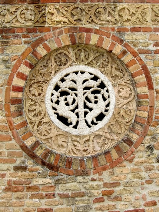 medieval ornament on brick wall