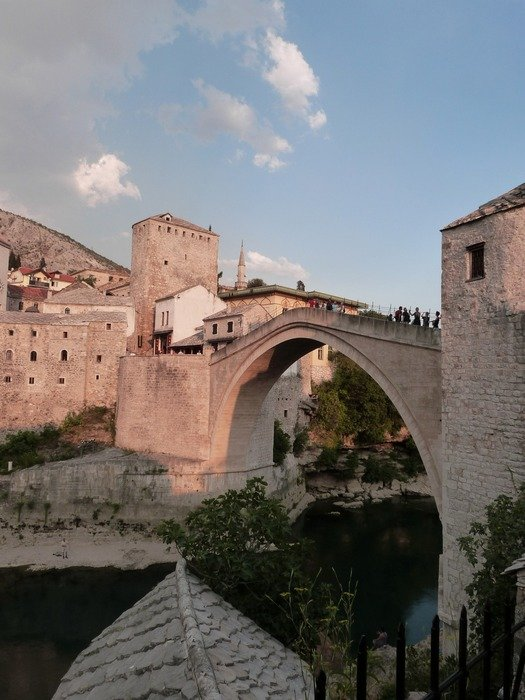 Ottoman-style bridge, which spanned the Neretva river, bosnia and herzegovina, mostar
