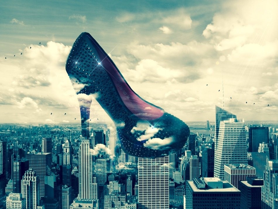 higheels women's shoes in clouds above city, collage