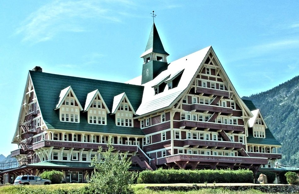 Prince of Wales Hotel in mountains at summer, canada, alberta, Waterton