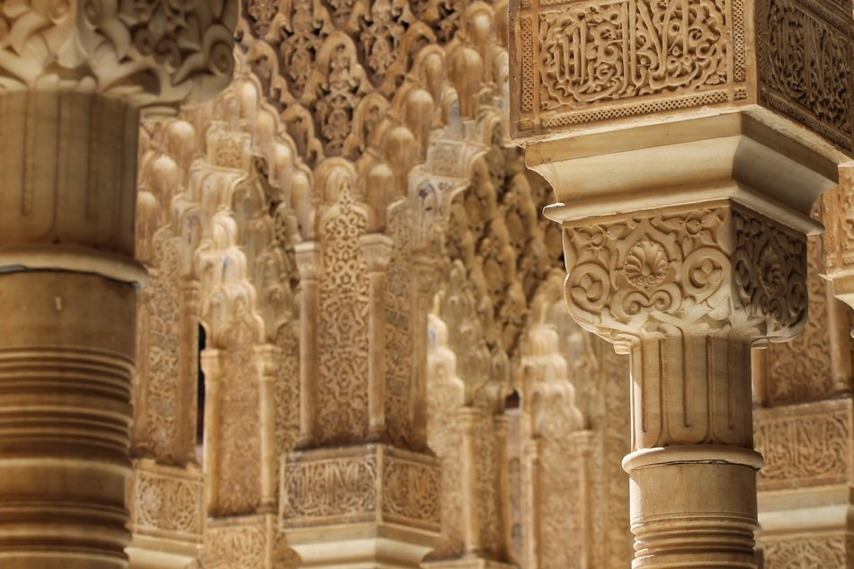 architectural detail of alhambra palace, spain, granada
