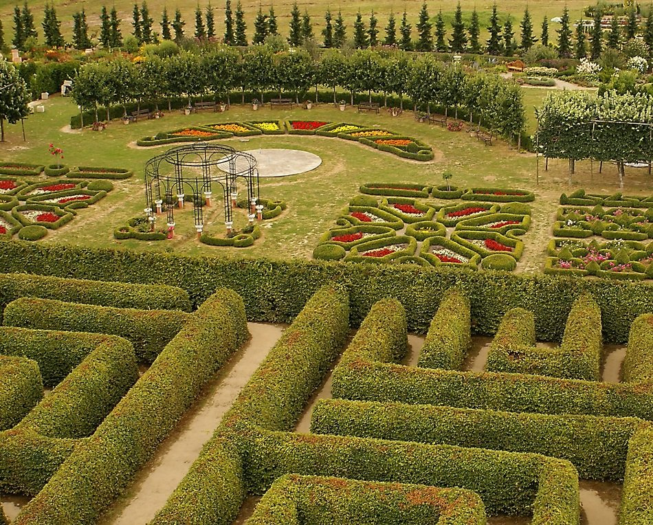 beautiful flower beds and hedges in Hortulus Theme Gardens, poland, Dobrzyca