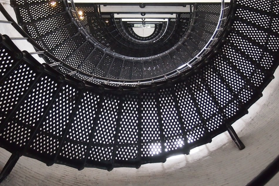 spiral staircase with metal stairs in lighthouse