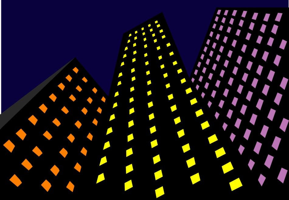 skyscrapers with colorful lights at night, illustration