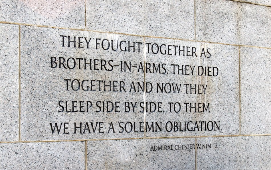 quote on stone of World War II Memorial, usa, washington dc