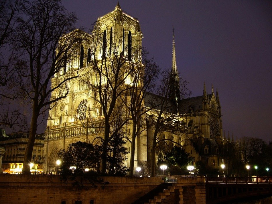 Notre-Dame, medieval catholic Cathedral at night, france, paris