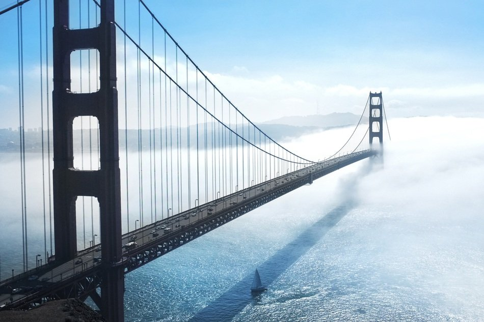 golden gate, suspension bridge at winter landscape, usa, California, san francisco