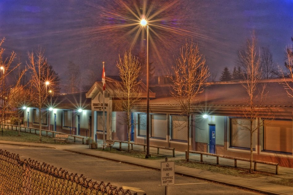 one storey elementary school building at night