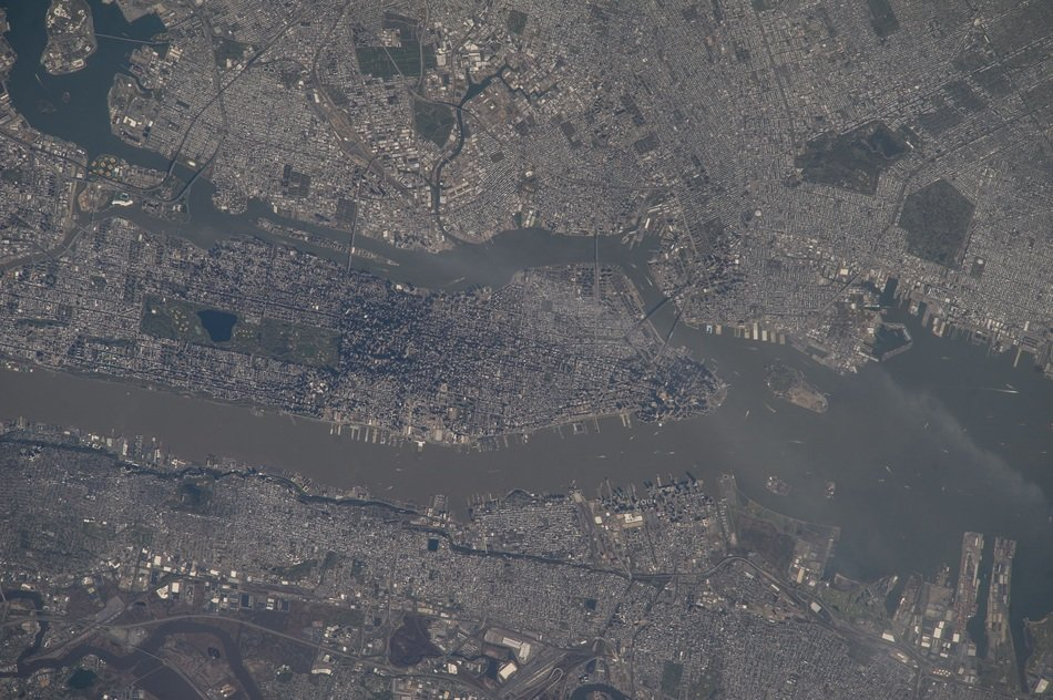 new york city view from space, usa, manhattan