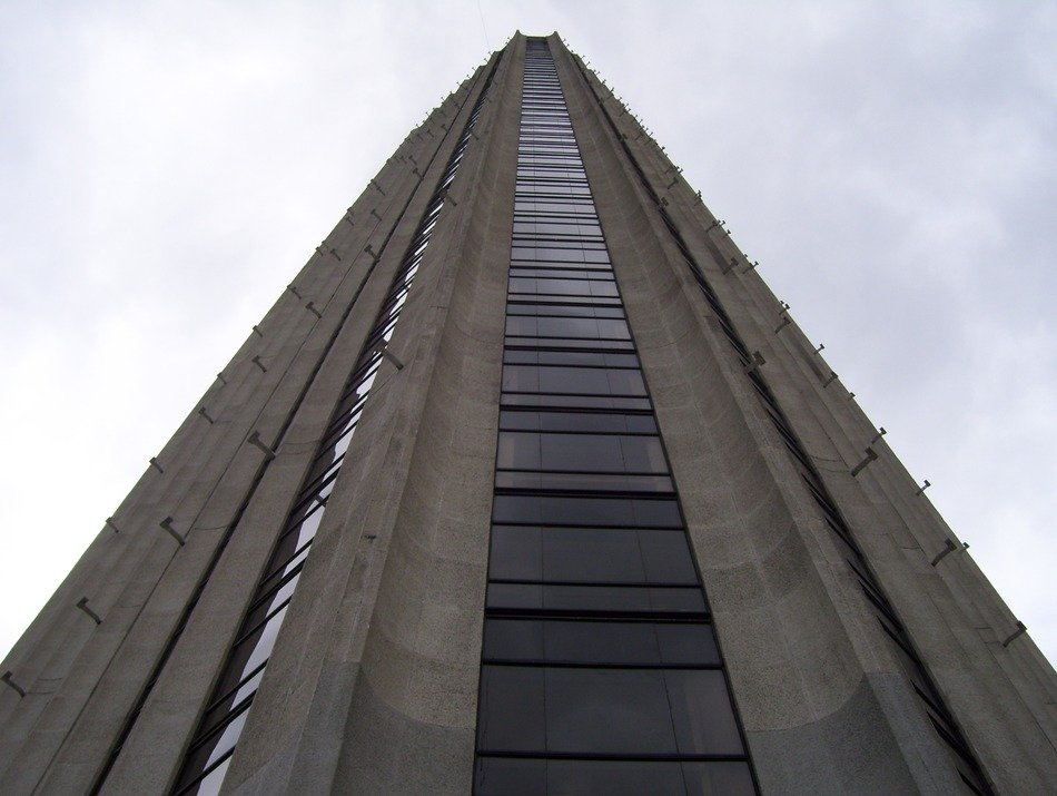 colpatria tower at clouds, colombia, bogota