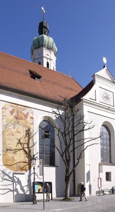 saint jakob church, part of facade, germany, dachau