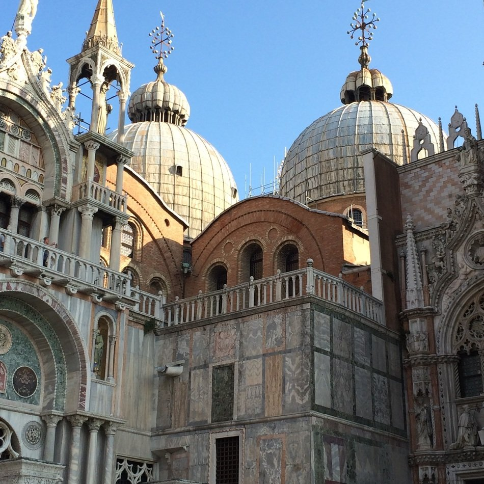 domes of Roman Catholic Basilica San Marco at sky, italy, venice europe travel water