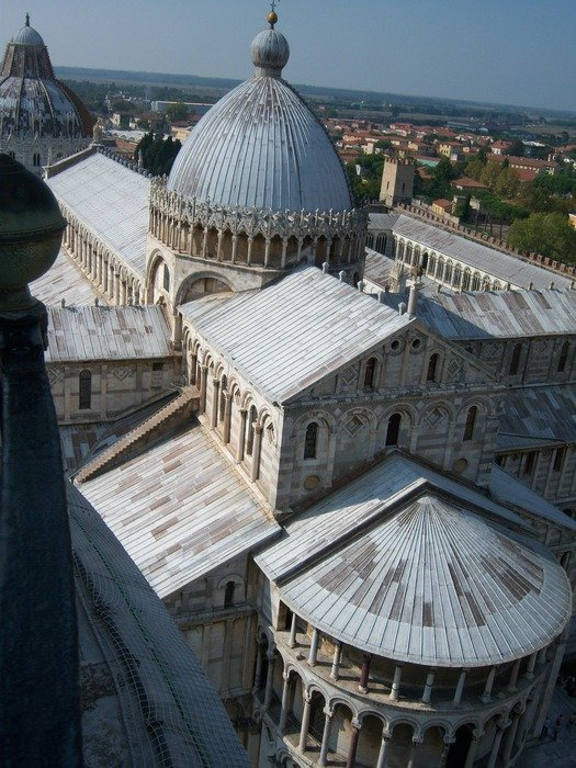 roof view of cathedral, italy, pisa