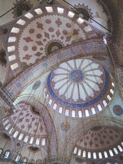 beautiful mosaic ceiling of blue mosque, turkey, istanbul