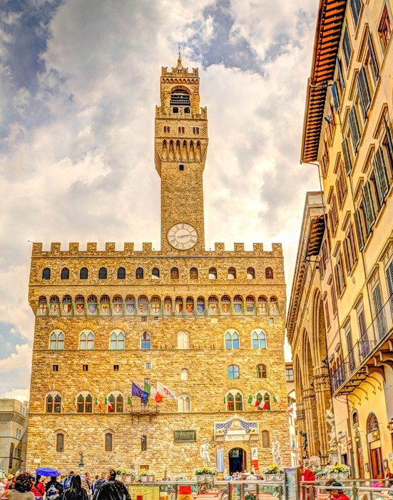 people on square at Palazzo Vecchio, italy, florence