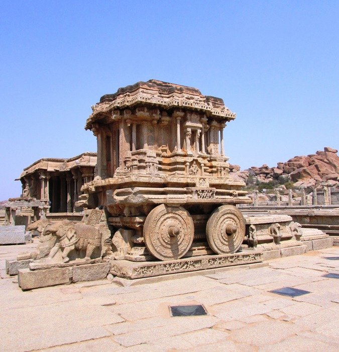 ancient stone chariot, india, hampi