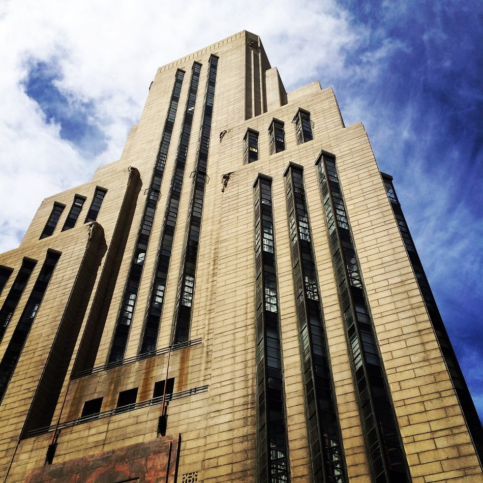 art deco style facade of Mutual Building, south africa, cape town