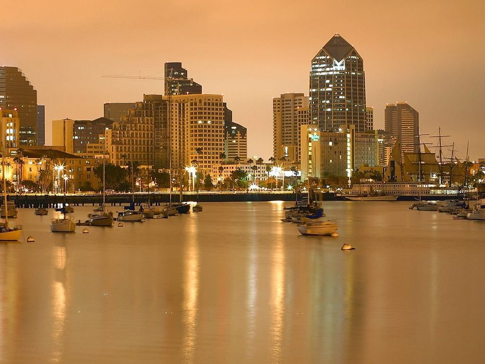 evening skyline with boats at harbour, usa, California, san diego