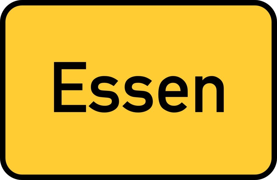 essen yellow town sign