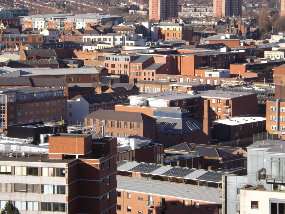 rooftop view of city, uk, england, birmingham