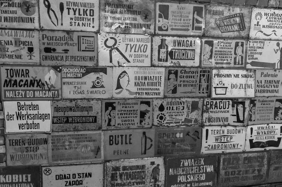 occupational Safety and Health, old warning signs on wall, poland