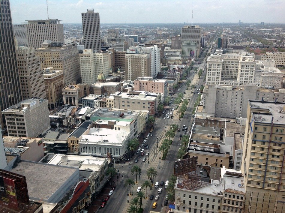top view of long street in city, usa, louisiana, new orleans