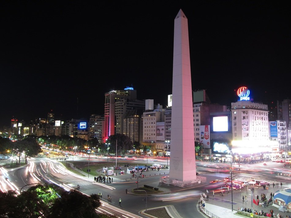 The Obelisk of Buenos Aires in night city, argentina