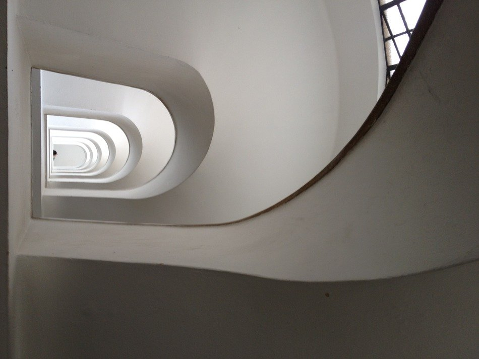top view of modern white stairwell