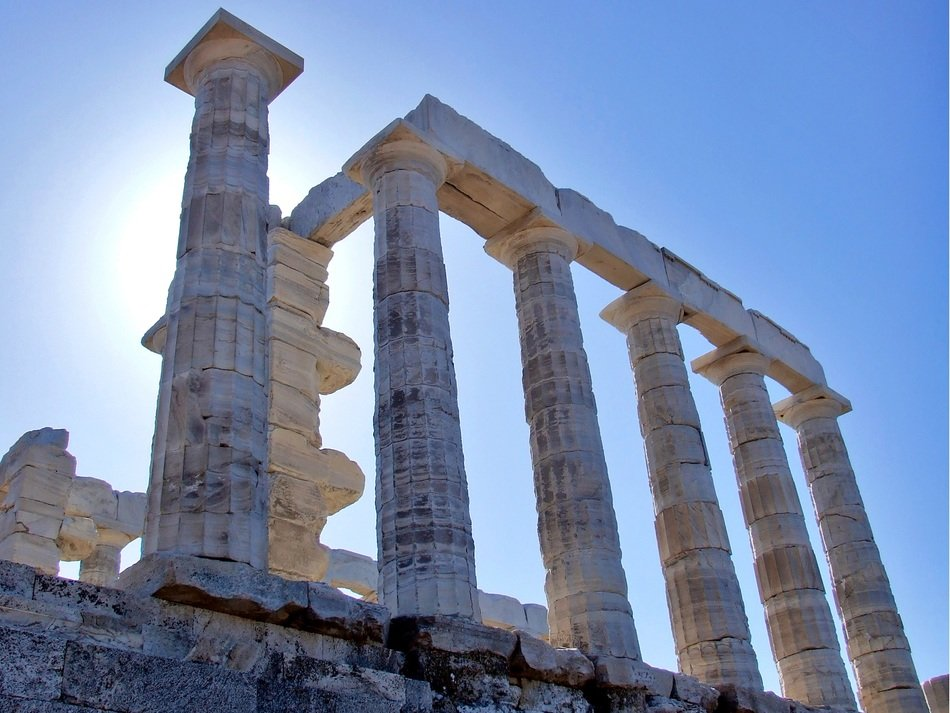 Ancient Greek temple of Poseidon ruin at sky, greece, Cape Sounion