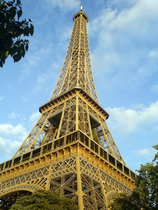 low angle view of eiffel tower at summer day, france, paris