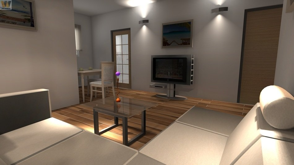 interior of modern living room, visualization