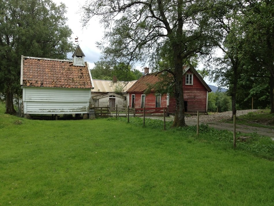 old village buildings at path, norway, svanøy