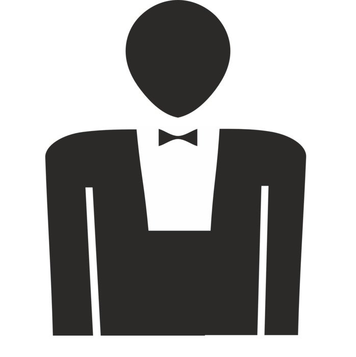 black male silhouette with bowtie, icon