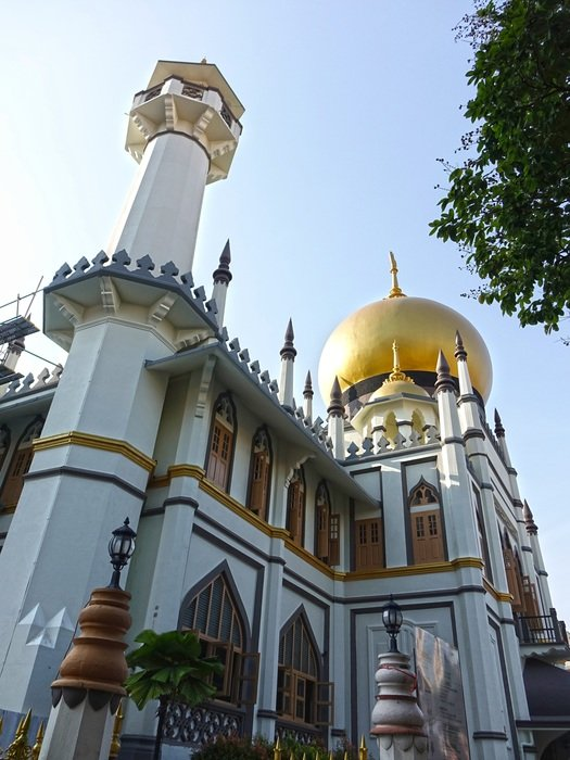 low angle view of Sultan Mosque in Kampong Glam, singapore