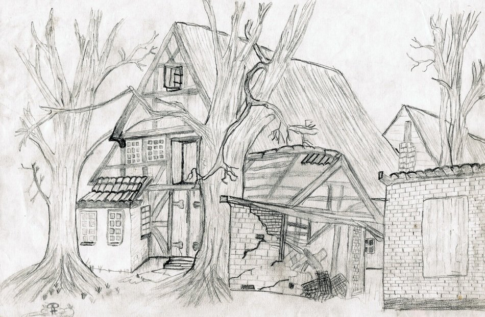 old village house, pencil drawing