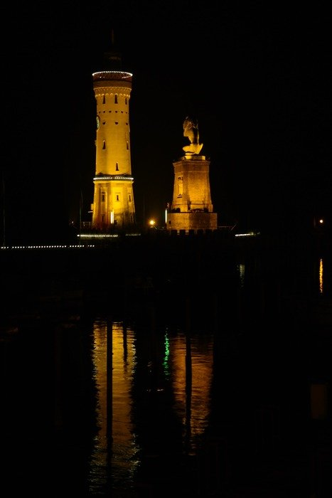 night lighthouse in lindau port