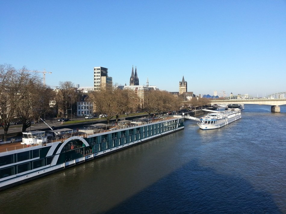 rhine river view, germany, cologne
