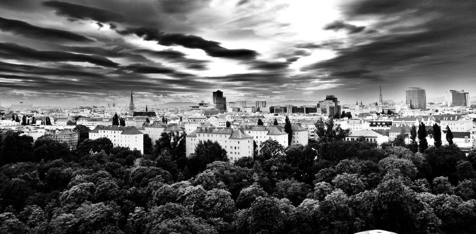 panoramic view of the park in Vienna, black and white