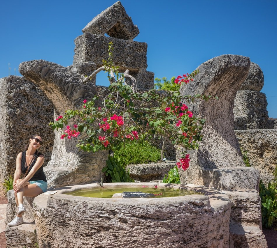 young woman near coral castle miami florida